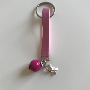 Keyring pink leather
